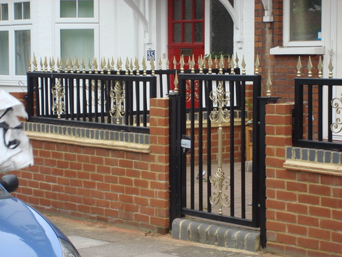 Side gate and decorated railings